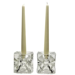 Pair of Cube Candlestick 'Ice Cubes' in Glass by Peill & Putzler