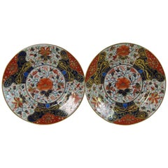 19th Century Derby Porcelain Imari Plates in an unusual size