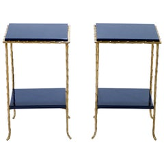 Bronze Faux Bamboo Side Tables by Maison Baguès, 1960s