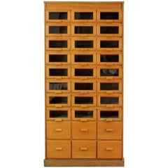 English Light Oak Haberdashery Cabinet, circa 1940s