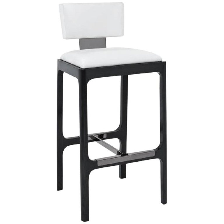 Gramercy Counter Stool In White Leather With Ash Frame By Powell Bonnell For