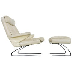COR Swing Designer Armchair in Leather with Footstool, White, Off-White, 1972