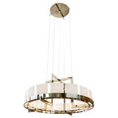 Large Halo Chandelier in Nickel with Porcelain Diffusers by Powell & Bonnell