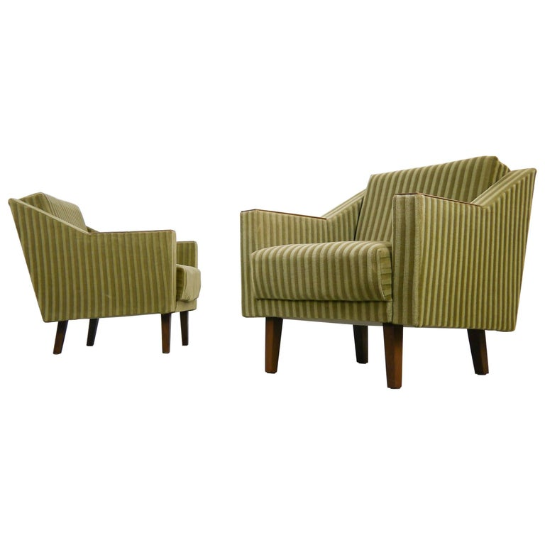 Pair of Vintage Green Easy Armchairs in Striped Green Fabric, Germany, 1950s