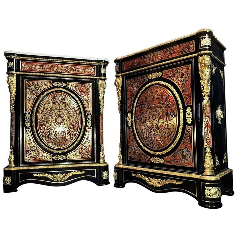 Rare Pair of Napoleon III Cabinet Buffet Boulle Style, France, 1860