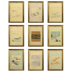 Set of Nine Meiji Period Woodblock Prints