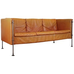 Vintage Tan Leather Italian Felix Sofa by Burkhard Vogtherr, 1985, Arflex, Italy