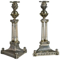 Early 19th Century Pair of Silver Plate and Ormolu Candlesticks