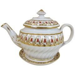 19th Century Coalport Porcelain Fluted Orange Harebell Teapot Lid Stand