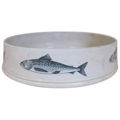 19th Century English Pearlware Large Char Pate Dish with Fish Print