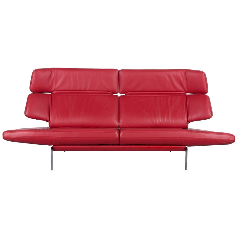 De Sede DS 480 Designer Sofa Red Leather Two-Seat Couch
