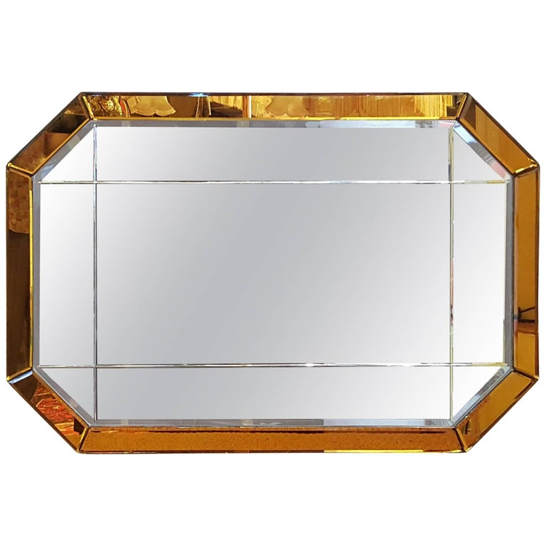 Art Deco Cobalt Blue Wall Mirror For Sale at 1stdibs
