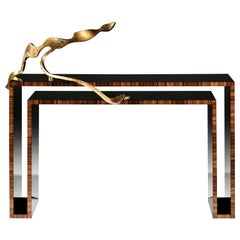 Duplo U Contemporary Console Table with sculpture of Rui Matos