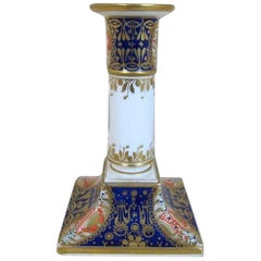 19th Century Chamberlain Worcester Porcelain Decorated Candlestick