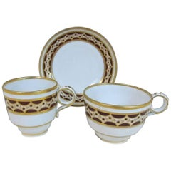 19th Century Barr Worcester Porcelain Chocolate Brown Gilt Cup Plate Trio