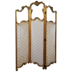 Late 19th Century Giltwood and Gesso Vanity Dressing Screen