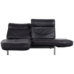 De Sede DS 450 Designer Sofa Black Leather Two-Seat Couch