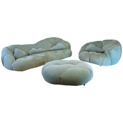 Vintage HK Cloud Sofa Suite, Howard Keith, 1970s, Chaise Longue, Couch, Armchair