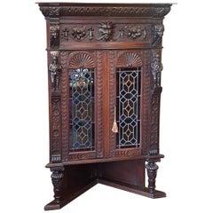 Late 19th Century Flemish Carved Oak Corner Cabinet