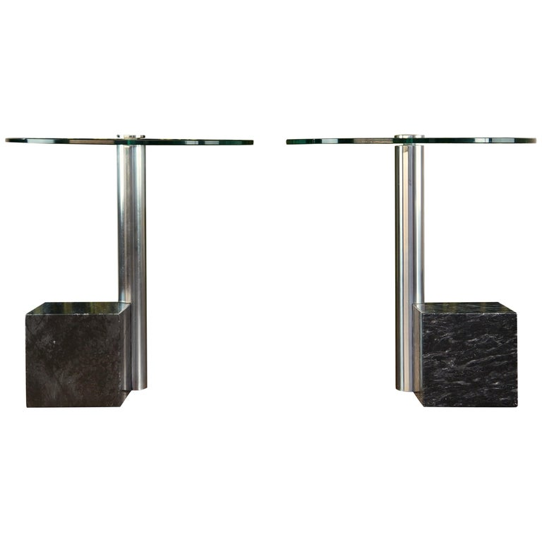 Pair of Vintage Marble and Glass HK2 Side Tables by Hank Kwint, Metaform 1980s