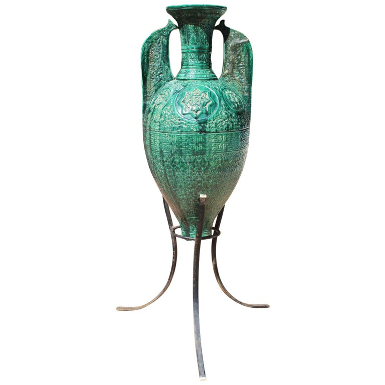 19th Century Spanish Green Glazed Ceramic Moorish Style Amphora