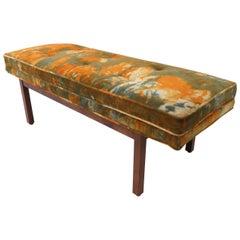 Midcentury Walnut Bench with Original Velvet Tie Dye Upholstery, circa 1960s