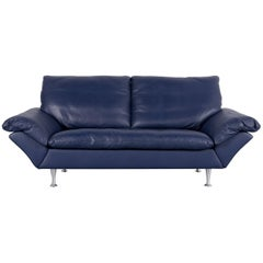 Rolf Benz Designer Sofa Leather Blue Two-Seat Couch