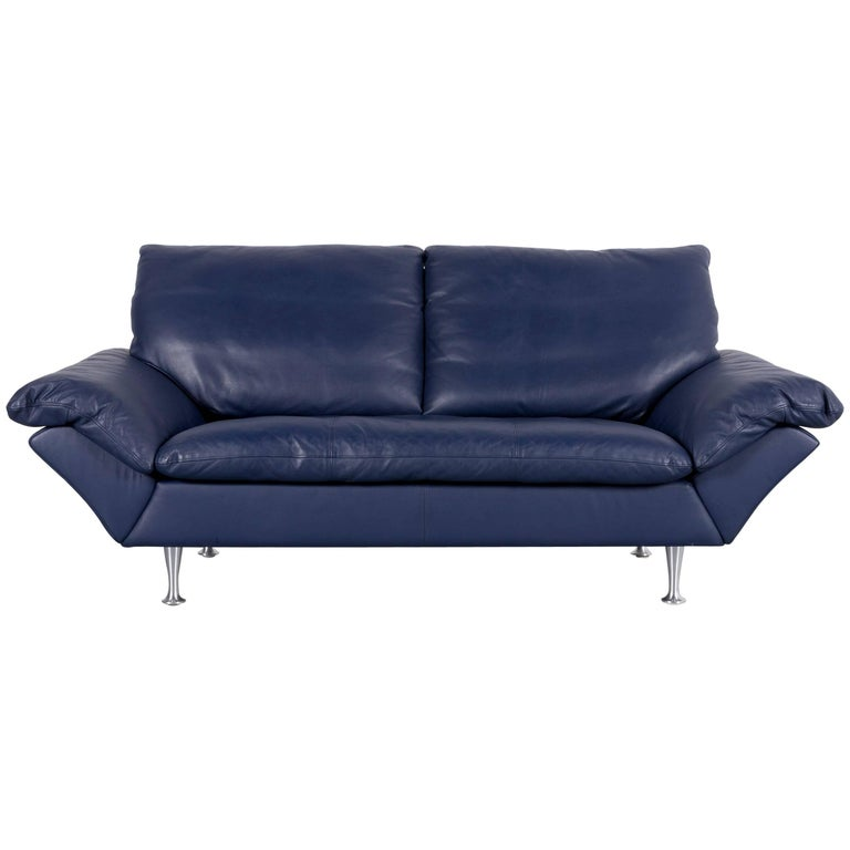 Rolf Benz Designer Leather Sofa Beige Two Seat Couch