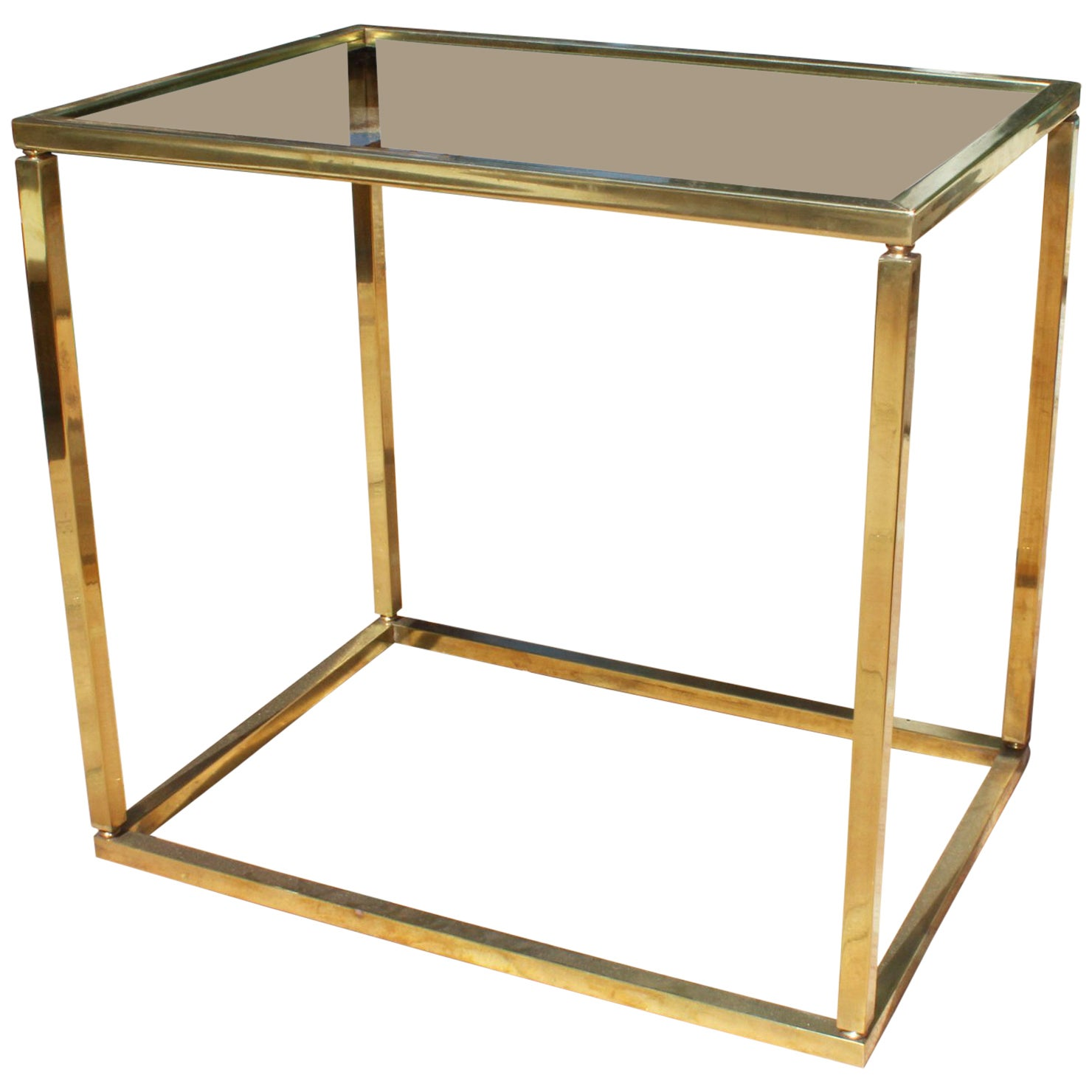 1970s French Vintage Gilded Brass and Glass Side-Table
