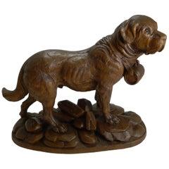 Huge Grand Black Forest Carving, St Bernard Dog, circa 1900