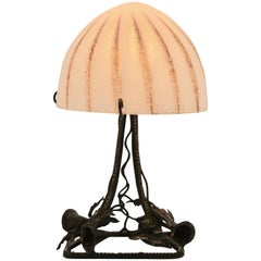"French Art Deco lamp in wrought iron with ""Satin-etched shade"""