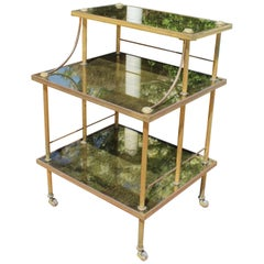 1950s French Gilded Brass and Glass Food Trolley