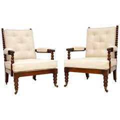 Pair of Antique William IV Mahogany Bobbin Armchairs