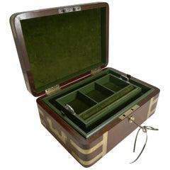 Fine Antique English Military/Campaign Brass Bound Mahogany Jewelry Box, 1820