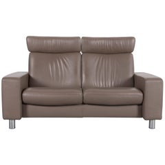 Ekornes Stressless Sofa Brown Leather Two-Seat Recliner