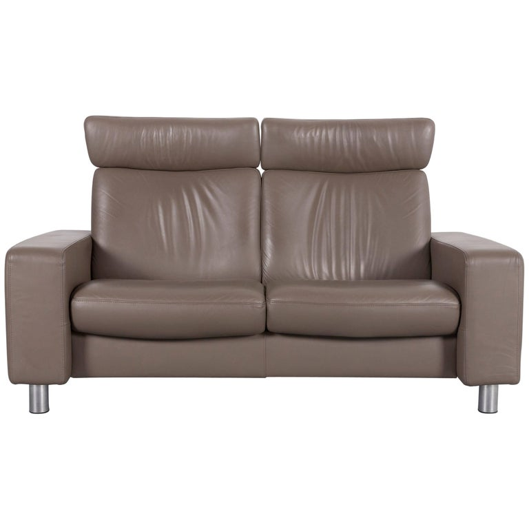Ekornes Stressless Sofa Brown Leather Two Seat Recliner