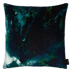 Modern Green & Blue Cotton Velvet Cushion by 17 Patterns