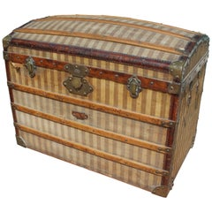 Mid-20th Century French Wooden Stripe Upholstered Travel Trunk