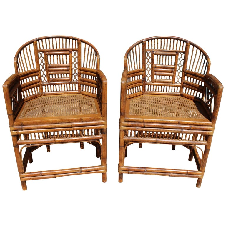 Mid-20th Century Pair of Oriental Bamboo Sofa Chairs