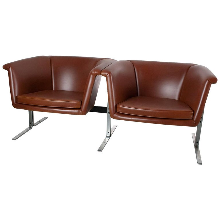 Mid-Century Modern Bench or Sofa in Faux Leather by Geoffrey Harcourt, 1963