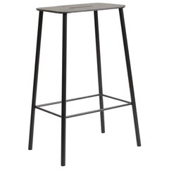 Contemporary Adam Stool in Black Leather and Black Frame H65