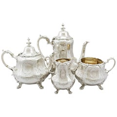 1863 Antique Victorian Sterling Silver Four Piece Tea and Coffee Service