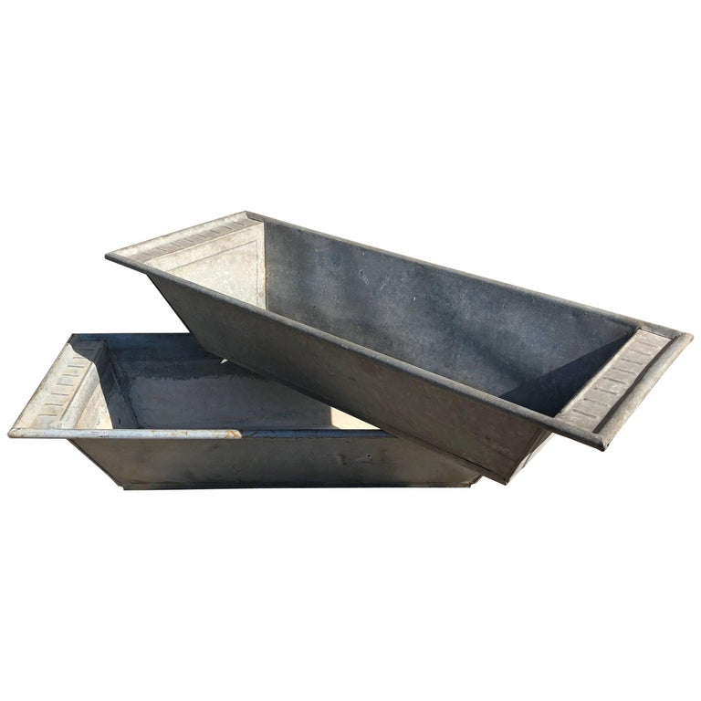 Pair of Long Galvanized Zinc French Troughs or Planters