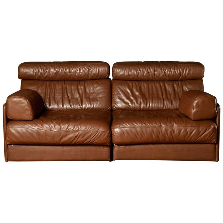 Midcentury Brown De Sede DS-76 Sectional Two-Seat Sofa Bed