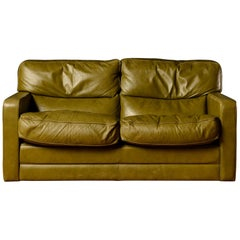 Midcentury Poltrona Frau Two-Seat in Green Leather