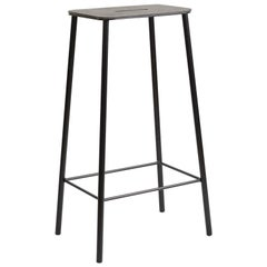 Contemporary Adam Stool in Black Leather with Black frame H76