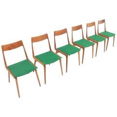 Set of Six Erik Christensen Boomerang Chairs in Teak Wood, Denmark, 1950s