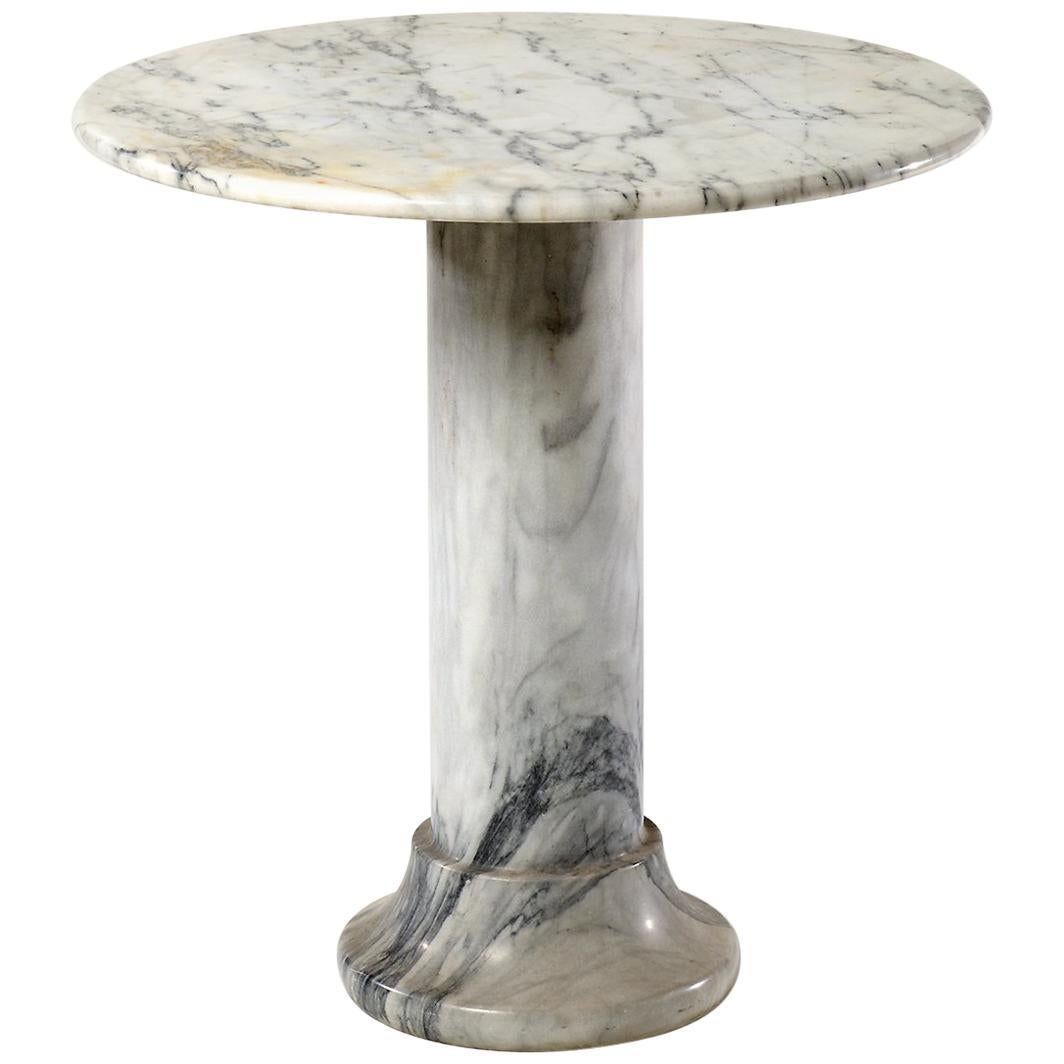 Midcentury Solid Marble Side Table, Circa 1975
