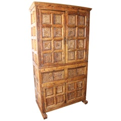 18th Century Bolivian Fruitwood Hand-Carved Colonial Cabinet