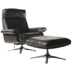 Midcentury De Sede DS 31 High-Back Swivel Lounge Armchair with Ottoman, 1970